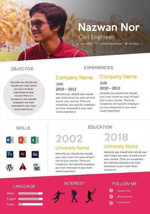 template resume kreatif